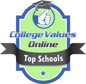The badge awarded by college values online to the top schools