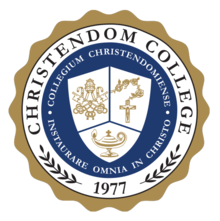 The logo for Christendom College which is a choice republican university