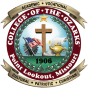 The logo for College of the Ozarks which is one our most conservative university