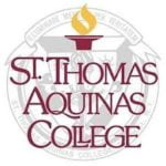 The logo fo Thomas Aquinas College which is a top conservative university