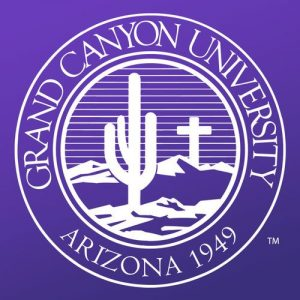 The logo for Grand Canyon University which has a top Online PhD in Psychology of Human Performance