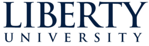 The logo for Liberty University which ranked 1st place for Top 15 Online PhD in Organizational Psychology