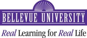 The logo for Bellevue University which offers a great online phd marketing