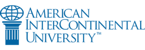 The logo for American InterContinental University which ranked 14th for top online colleges for photography