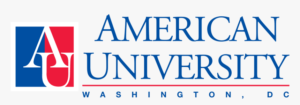 The logo for American University which placed 30th in our mpp program rankings