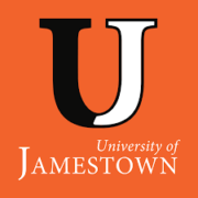 The logo for Jamestown University which is one of the best small business schools