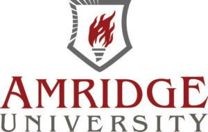 The logo for Amridge University which has one of the best online associates degree