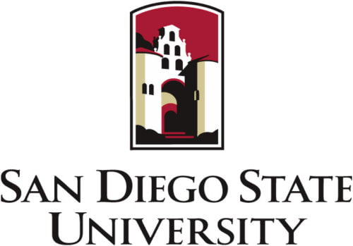 The logo for San Diego State University which has a great online mpa