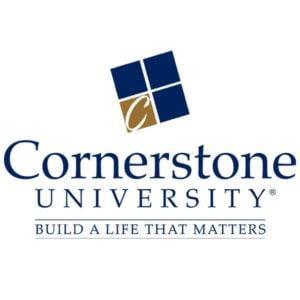 The logo for Cornerstone University which placed 17th for organizational behavior online