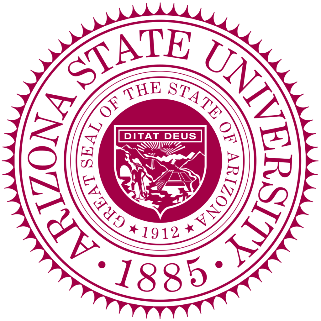 Logo for Arizona State University which ranks among our Top 30 Most Affordable Online Certificate Programs 2021
