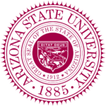 The logo for Arizona State University which has a great Online Master of Arts in Criminal Justice