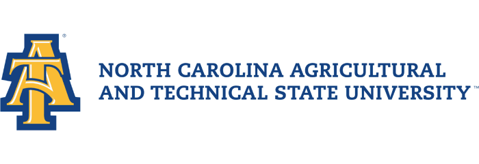 The logo for North Carolina A & T State University which is fifth in our ranking of online tech schools